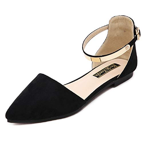 (Dejian Womens Casual Slip On Flats D'Orsay Buckle Comfort Pointy Toe Ballerina Ballet Flats Shoes (US 8, Black))