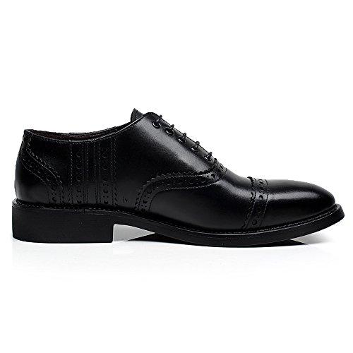 rismart Hommes Classics Smart Robe Habillée Décontractée Split Chaussures de Ville à Lacets 16899(Noir,44.5)