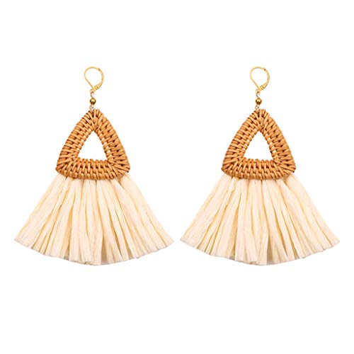 Triangle Tassel Earrings for Women, Handmade Hoop Tassel Earrings Jewelry Gifts for Women Girls Coffee