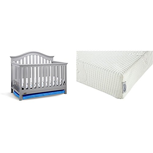 Graco Bryson 4-in-1 Convertible Crib, Pebble Gray with Graco Natural Organic Foam Crib and Toddler (4in 1 Cot)