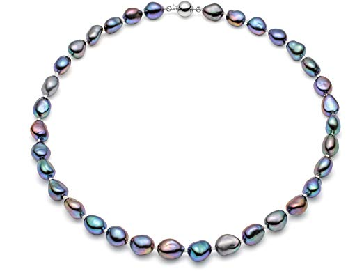 Freshwater Orient Pearl Necklace - HinsonGayle AAA Handpicked 10-11mm Baroque Freshwater Cultured Pearl Necklace (Silver 18