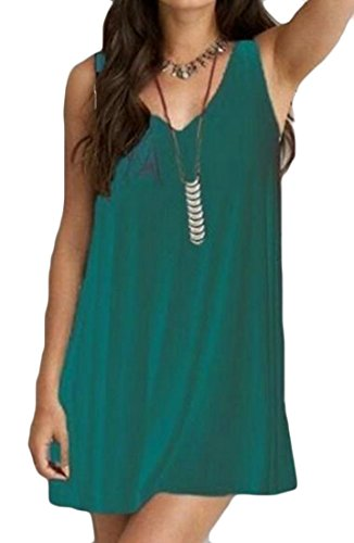 Women's Color Back Neck V Loose line Solid A Sundress Sleeveless Cromoncent Cross Fit Mini Knit Green dEqHdw