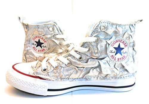 Sneaker Converse Stracc Tessuto Personalizzata 37 Tg All Argento star pwBEW5