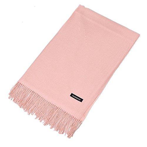 AERLIS Rich Solid Colors Cashmere Feel Winter Scarf Shawl Wrap (Meat powder) Powder Blue Flannel