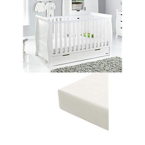 Obaby Stamford Sleigh Classic Cot Bed and Foam Mattress White