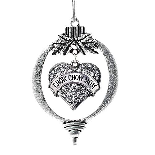 Inspired Silver - Chow Chow Mom Charm Ornament - Silver Pave Heart Charm Holiday Ornaments with Cubic Zirconia Jewelry