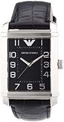 Emporio Armani Men's AR0362 Classic Black Dial and Strap Watch