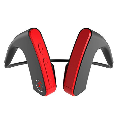 Price comparison product image Bone Conduction Bluetooth Headphones, Buybuybuy HiFi Stereo Memory Metal Wireless Headset for Sports,  Driving,  Open Back Noise Cancelling Bluetooth Earphones (Red)