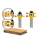 Aolvo Tongue and Groove Router Bit Set, 2PCS Roundover Router Bit Set 1/2-Inch Shank 3 Teeth T-shape Wood Milling Cutter Woodworking Tool for Router Table/Base Router, Kitchen/Bathroom/Cabinets