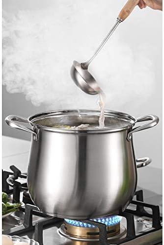 Pot en acier inoxydable Cocotte avec couvercle en verre et poli miroir, pot soupe faitout Binaural en acier inoxydable (Size : 24 * 26cm)