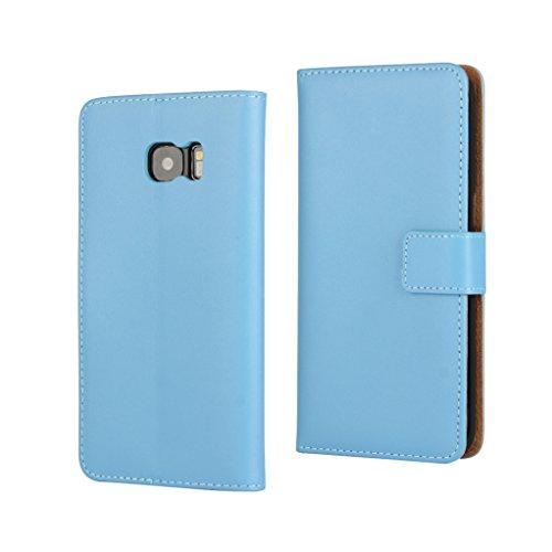 Trumpshop Smartphone Carcasa Funda Protección para Samsung Galaxy S7 edge [Azul] Cuero Genuino Caja Protector con Función de Soporte Ranuras para Tarjetas Crédito Choque Absorción Azul