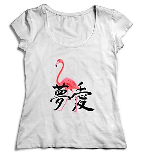 Dream Love Flamingo Japan Symbols Good Vibes Shirt Women Christmas T-Shirt Tshirt Cotton XL White -