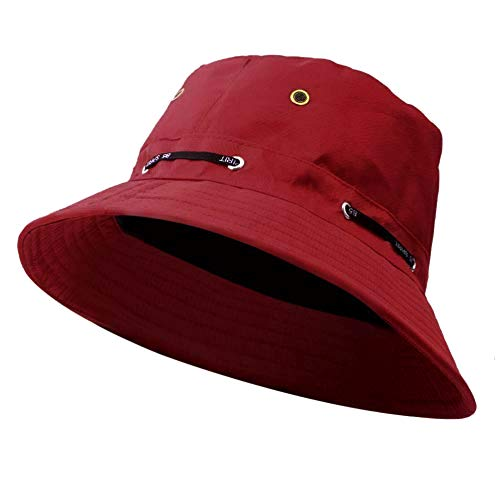Adjustable Bucket Hats for Men and Women, Cotton Outdoor Short Brim Breathable Sun Hat with UV Protection Fisherman Cap, Packable Boonie Hat for Safari Fishing Hiking Beach Golf (Wine) ()