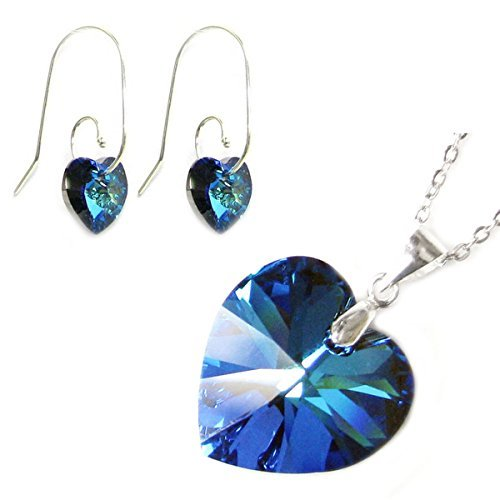 Sterling Silver Blue Swarovski Elements Crystal Heart Earrings Pendant Necklace Set, 16 + 2 Extender by Queenberry