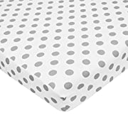 American Baby Company Fitted Portable/Mini Crib Sheet, 100% Cotton Percale, White with Gray Dot