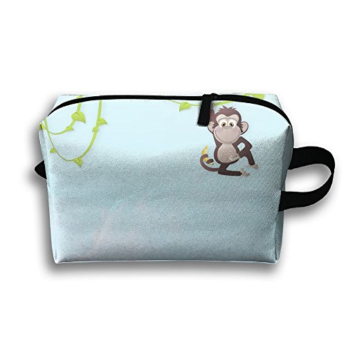 Travel Makeup Monkey Cosmetic Bags Outdoor Travel First Aid Kit Pack Organizer Bag Train Case Storage (Sock Monkey Halloween Makeup)