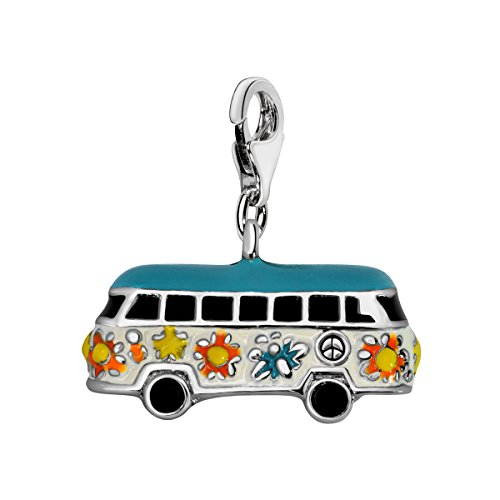 Quiges Silver Plated Multi Color Enamel 3D Hippie Bus Lobster Clasp Charm Pendant