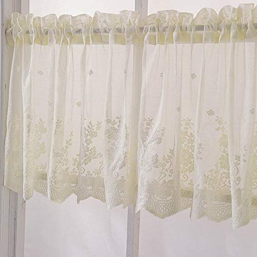 (KMSG 1pc Nordic Modern Lace Jacquard Half Curtains for Kitchen Windows Blue Valances for Living Room Korean Wear Rod Small Curtain Finished Lace Short Curtains Home Decoration )