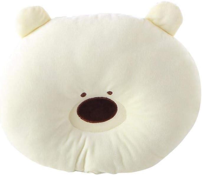 Almohada cóncava con forma de oso de dibujos animados para bebé, suave, para proteger la cabeza, cuello hueco, cojín para recién nacido, almohadas suaves amarillo amarillo