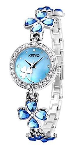 Ostan-Joyera-Mujeres-Moda-Chapado-en-Oro-Cuarzo-Pulsera-Relojes-con-Crystals-y-Circonio-Cbico-Azul