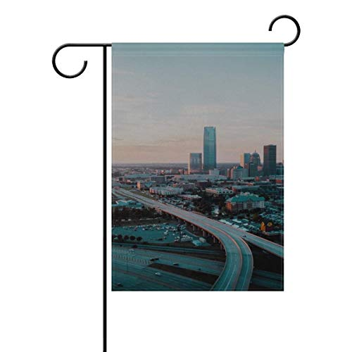Dongingp Garden Flag Oklahoma City USA Skyscrapers Buildings Architecture 12x18 Inches(Without Flagpole)
