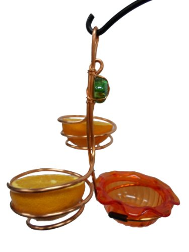 Birds Choice Copper Double Cup/Double Fruit Oriole Feeder Double Suet Holder