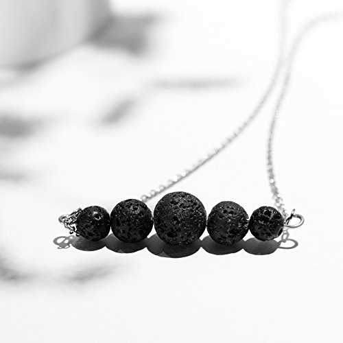 Lava Rock Essential Oil Diffuser Necklace, Minimalist Aromatherapy Jewelry, Simple, Delicate, Dainty Necklace with Stainless Steel Chain