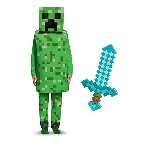 BirthdayExpress Minecraft Creeper with Sword Deluxe Child Costume