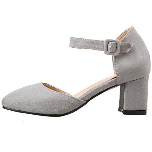 AIYOUMEI Damen Wildleder Chunky Heel Knöchelriemchen Pumps mit 6cm Absatz Blockabsatz Bequem Schuhe Grau