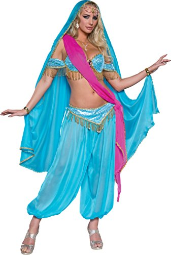 Harem's Jewel Belly Dancer Costumes (Fun World Women's Exotic Jewel of the East Costume, Turquoise Aqua, XS)