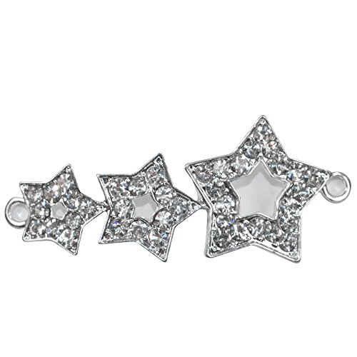 elry, Cooper Paved Connector Bead Rhinestone Crystal Three Wishing Star Bracelet Charm Collection Designed for Handmade Bracelet, Pack of 8 (Silver) ()
