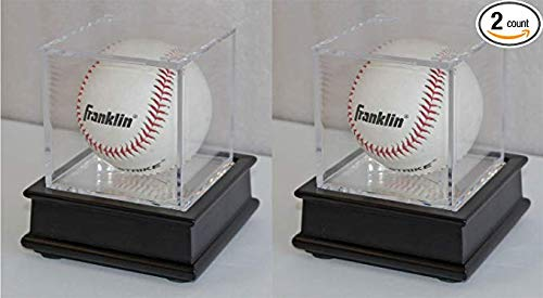 DisplayGifts Pro UV Baseball Display Case Holder Stand (Black 2-Pack)