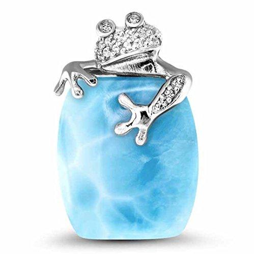Marahlago - Tree Frog Larimar Pendant Necklace with White Sapphire