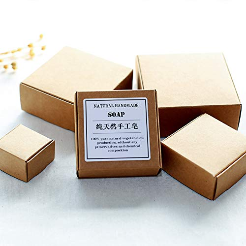 50 Pieces Mini Brown Aircraft Cardboard Pack Square Gift Wrapping Kraft Paper Soap Box Craftwork Gift Fastener Ear Rings Small Jewellery Favor Treat Boxes (1.6x1.6x1 inch (4x4x2.5cm))