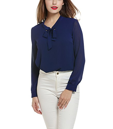ACEVOG Womens Casual Chiffon Ladies V-Neck Cuffed Sleeve Blouse Tops