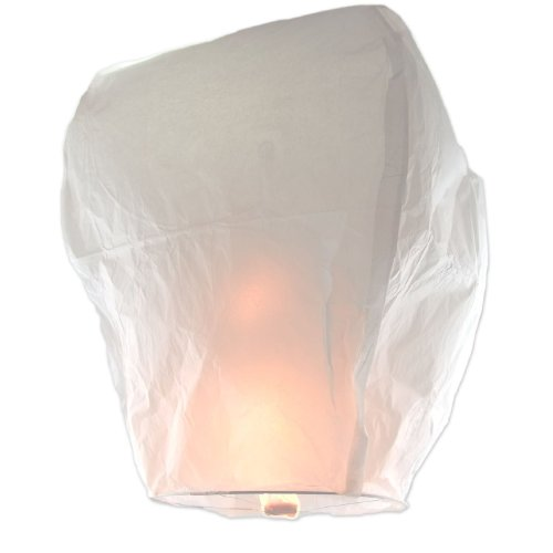 White Sky Fire Chinese Lanterns Flying Paper Wish Balloon for Wedding Festival Christmas Party(Pack of 10 pcs)