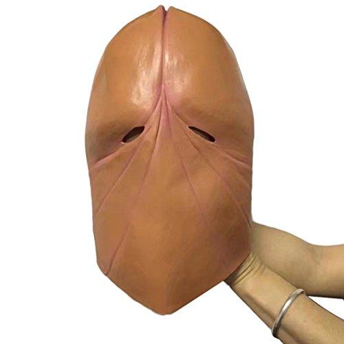 Penis Dick Mask Halloween Adult Ful Latex Mask (Kaki)