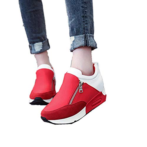 (haoricu Sports Shoes Women, Women Wedges Boots Platform Shoes Slip On Ankle Boots Fashion Casual Running Hiking Sneakers (US:8.5, Red))