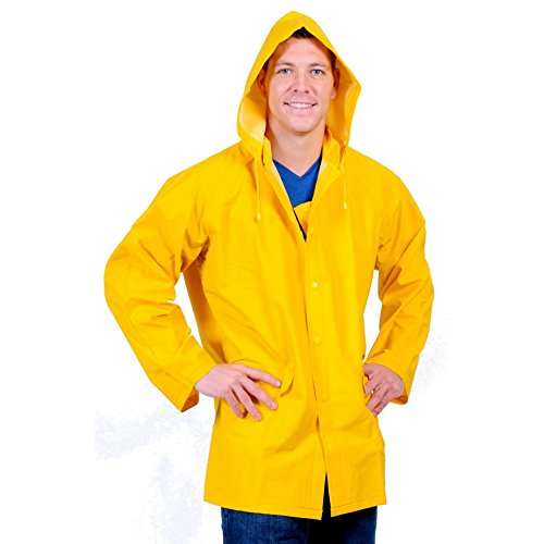 Galeton 7960-S-YW Repel Rainwear 0.35mm PVC/Polyester Rain Jacket with Detachable Hood, Vinyl, Small, Yellow by Galeton