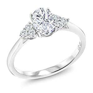 10K White Gold Engagement Ring Forever Classic Oval Created Moissanite & Lab Grown Diamond
