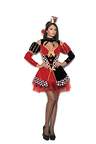Queen of Hearts 4 Pc. Costume Dress, Head Piece, Neck Piece and Arm Guards ()