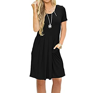MIDOSOO Womens Short Sleeve Pleated Loose Swing Casual Knee Length Dress with Pockets