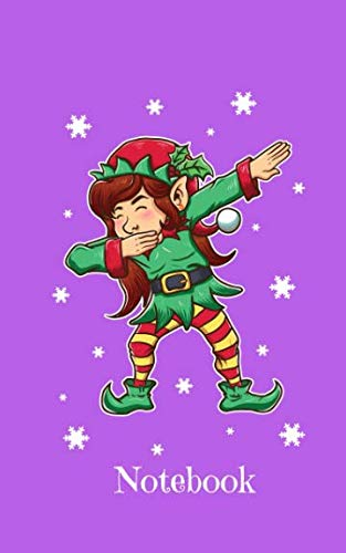(Notebook: Dabbing Christmas Elf On Purple Background - Blank Wide Ruled Line Paper 50 pages/25 sheets 5