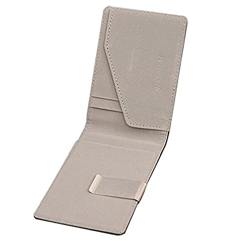 Bokeley Wallet, Mens Leather Magic Credit Card ID Holder Money Clip Wallet,Gray