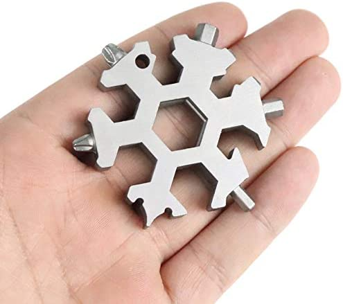 Snowflake Multi Tool,18in1 Stainless Steel Multitool Card,Portable Mini Snowflake Keychain Tool,Pocket Multi Function Wrench with Key Ring