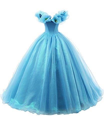 [MengLu Women's Organza Cosplay Cinderella Dress Long Quinceanera Gown Size 20] (Cinderella Fancy Dress Adult)