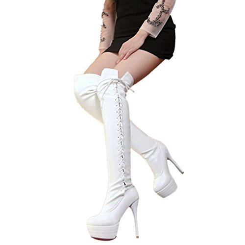 Party up Rongzhi Womens White Lace Boots Knee Round Dress Platform Boots Toe Stilettos Thigh Heels Over The 77x1zT