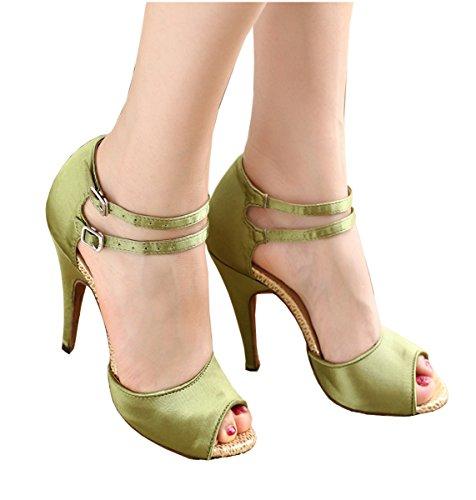 Minishion QJ8057 Womens Peep Toe Green Satin Salsa Tango Ballroom Latin Party Dance Shoes 9 M US