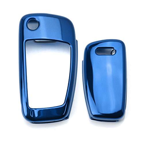 - iJDMTOY Chrome Finish Blue TPU Key Fob Protective Cover Case For Audi A3 S3 A4 S4 A6 Q5 Q7 TT R8 Folding Blade Key