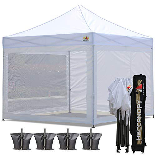 (ABCCANOPY 10x10 Pop up Canopy Tent Commercial Tents with White Mesh Walls Camping Screen & Mesh House Bonus Rolly Carry Bag and 4X Weight Bag, 30+ Mutil Colors)